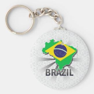 Brazil Flag Map 2.0 Keychain