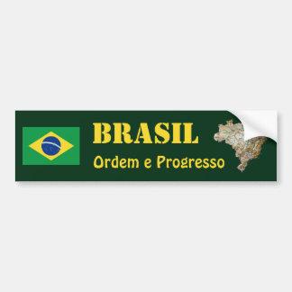 Brazil Flag + Map Bumper Sticker