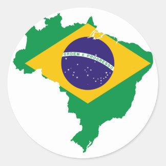 brazil flag map classic round sticker