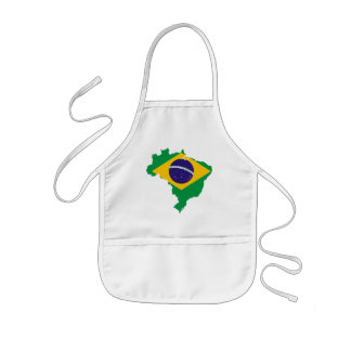 brazil flag map kids apron