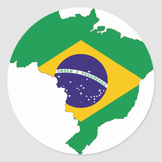 Brazil Flag Map Symbol Brazilian Country Classic Round Sticker