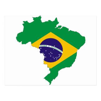 Brazil Flag Map Symbol Brazilian Country Postcard