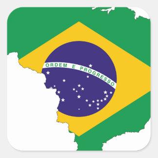 Brazil Flag Map Symbol Brazilian Country Square Sticker