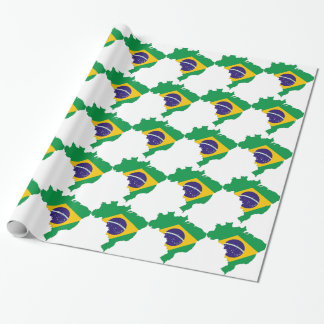 Brazil Flag Map Symbol Brazilian Country Wrapping Paper