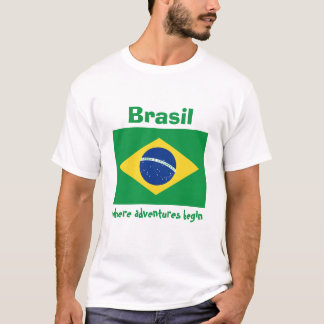 Brazil Flag + Map + Text T-Shirt