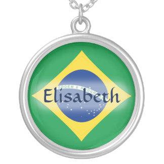 Brazil Flag + Name Necklace
