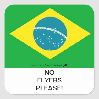 Brazil Flag No Flyers Please Mail Box Sticker