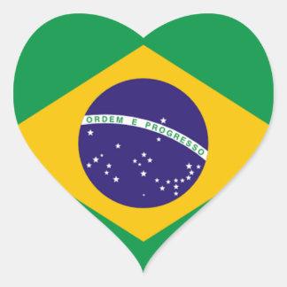 Brazil: Flag of Brazil Heart Sticker