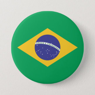 Brazil flag quality 3 inch round button