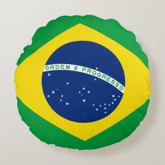 Brazil Flag Round Pillow
