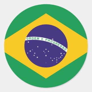 Brazil Flag Round Stickers