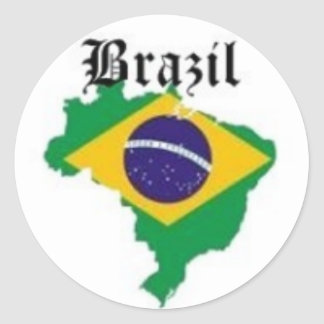 BRAZIL FLAG  T-SHIRT AND ETC CLASSIC ROUND STICKER