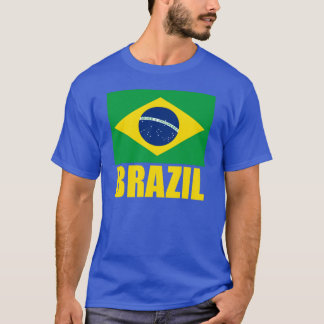 Brazil Flag Yellow Text T-Shirt