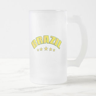 Brazil frosted glass beer mug