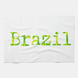 Brazil Green and Yellow Font Kitchen Towel