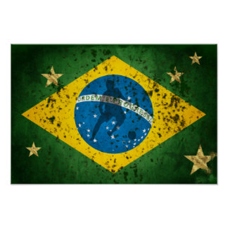 Brazil Grunge flag for Brazilians Soccer Sports Poster