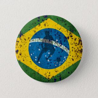 Brazil Grunge flag for Brazilians worldwide 2 Inch Round Button