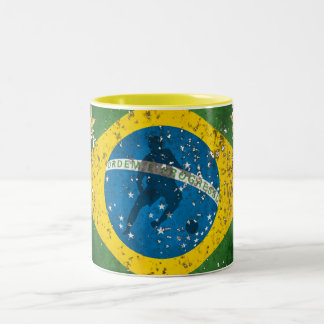 Brazil Grunge flag for Brazilians worldwide Two-Tone Coffee Mug