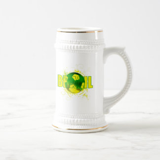 Brazil grunge logo soccer ball futebol fans gifts beer stein