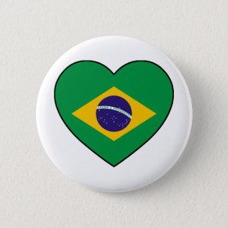 Brazil Heart Soccer 2 Inch Round Button