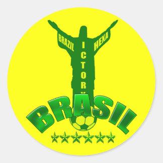 Brazil Hexa Victory World Champions six star Classic Round Sticker