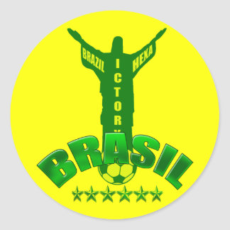 Brazil Hexa Victory World Champions six star Round Sticker