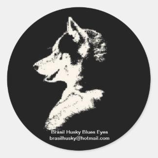 Brazil husky classic round sticker