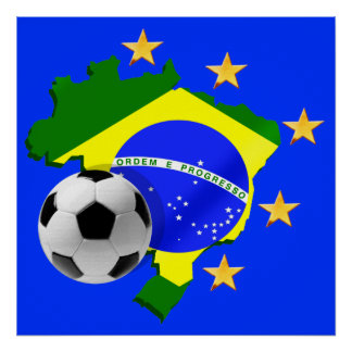 Brazil map 5 stars soccer ball gifts poster