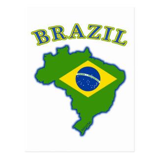 BRAZIl Map/Flag Postcard
