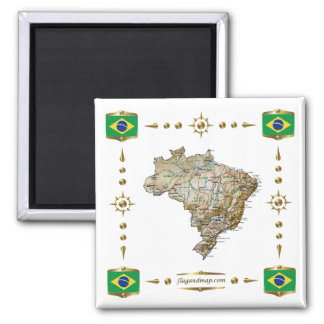 Brazil Map + Flags Magnet