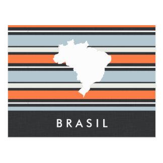 Brazil Map: Modern Stripes Postcard