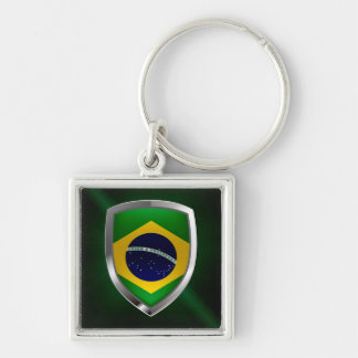 Brazil Mettalic Emblem Silver-Colored Square Keychain