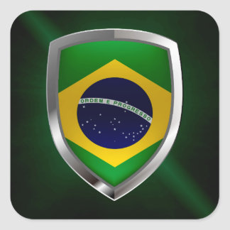 Brazil Mettalic Emblem Square Sticker