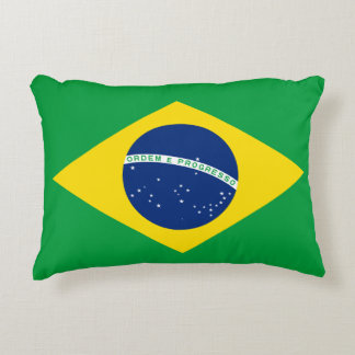 Brazil National World Flag Accent Pillow