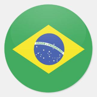 Brazil quality Flag Circle Classic Round Sticker