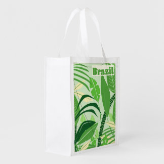 Brazil Rainforest Vintage style vacation print Reusable Grocery Bag