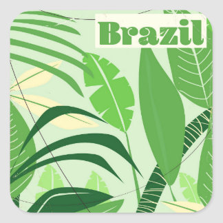 Brazil Rainforest Vintage style vacation print Square Sticker