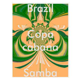 Brazil Red Golden Green Postcard Template