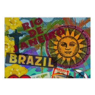 Brazil Rio Collage Sun South America Poster