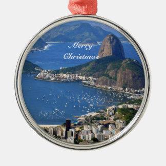 Brazil: Rio de Janeiro landscape - Merry Christmas Metal Ornament