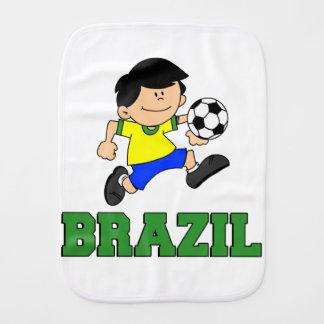 Brazil Soccer Cartoon Baby Burp Cloths
