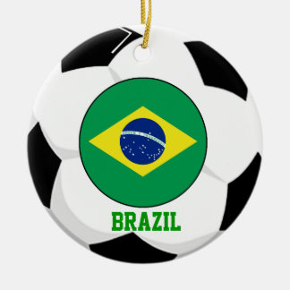 Brazil Soccer Fan Ornament 5 Times World Cup Champ