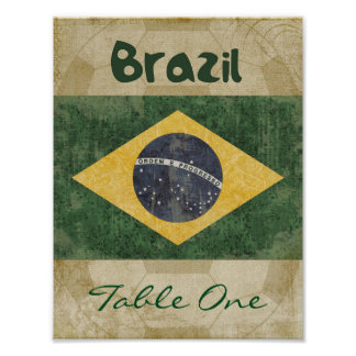 Brazil Table Number Poster