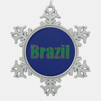Brazil Text  Green Carnival Design Snowflake Pewter Christmas Ornament