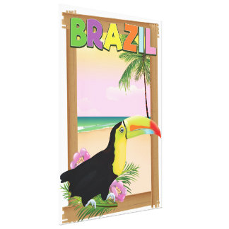 Brazil Toucan beach holiday poster Canvas Print