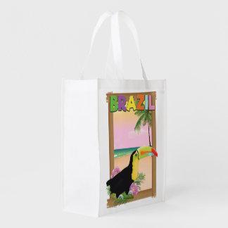 Brazil Toucan beach holiday poster Reusable Grocery Bag