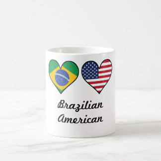 Brazilian American Flag Hearts Coffee Mug