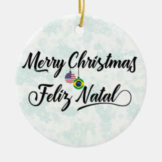 Brazilian American Holiday Decoration, Feliz Natal Ceramic Ornament