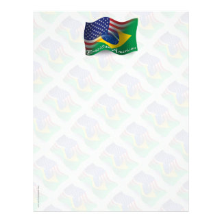 Brazilian-American Waving Flag Letterhead Template