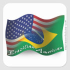 Brazilian-American Waving Flag Square Sticker